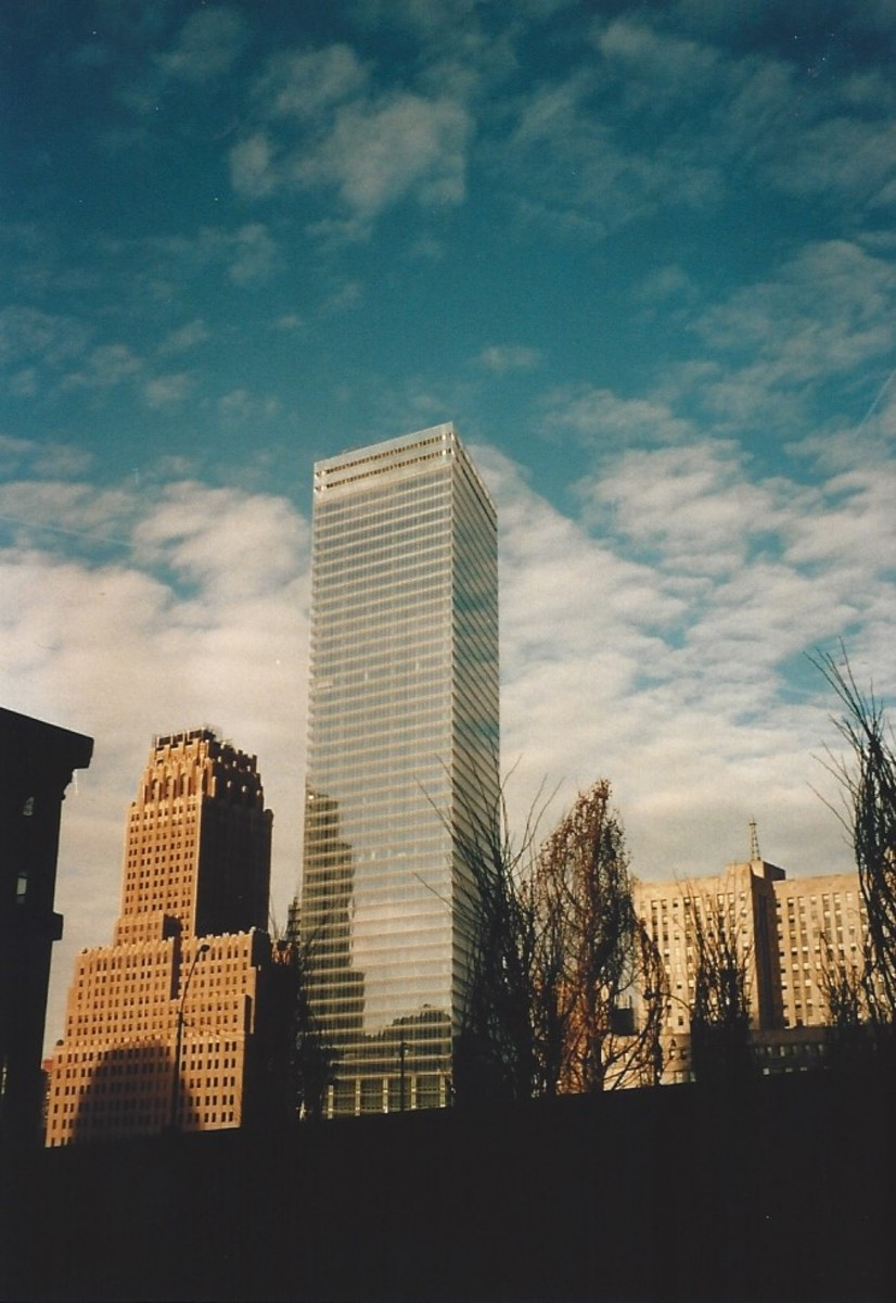 World Trade Center 7.  The first skyscraper to replace a destroyed skyscraper, World Trade Center 7.