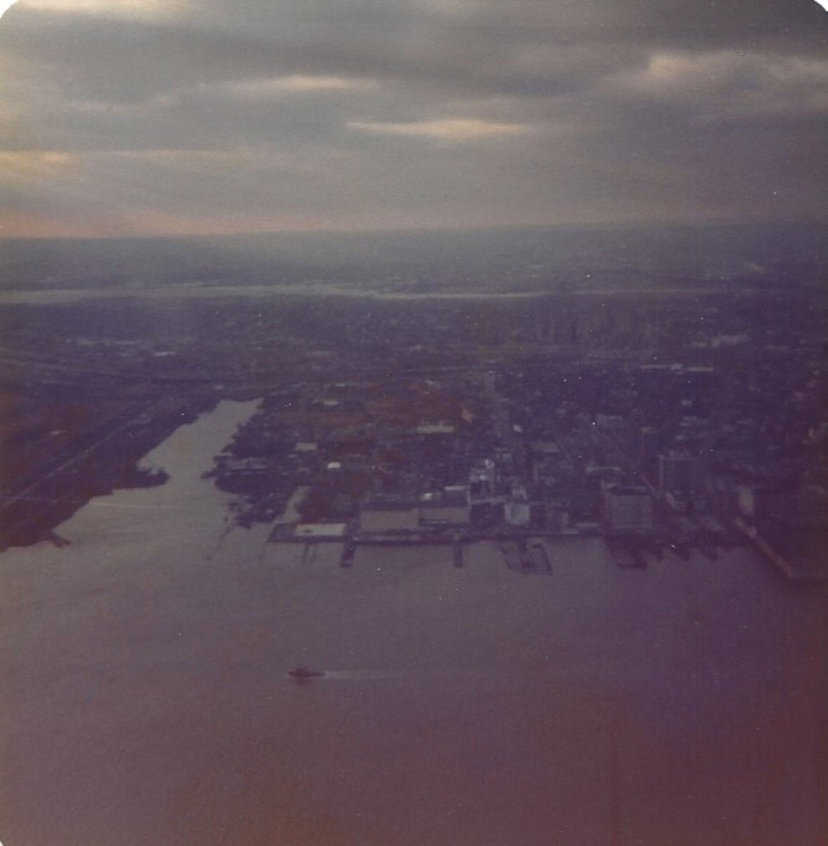 View from the observation deck of the World Trade Center, December 1979.
