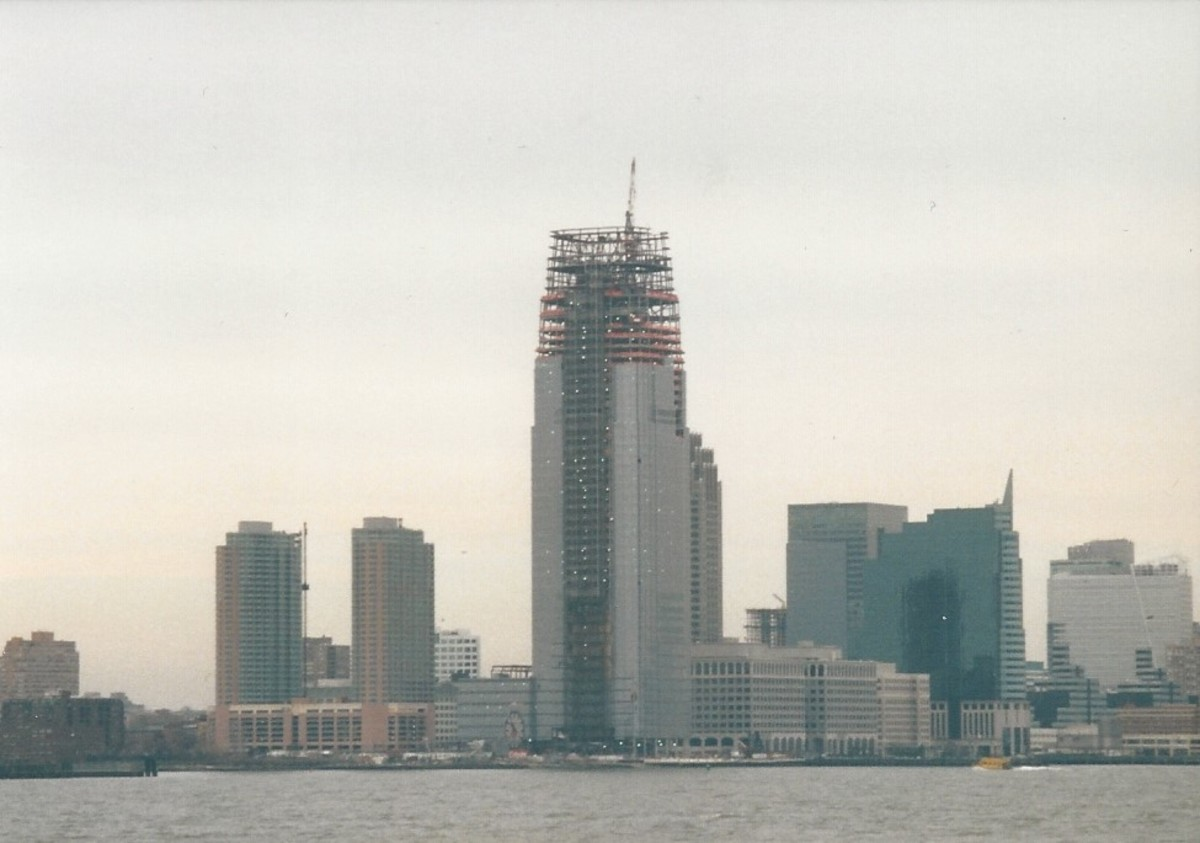 Skyscraper under construction, New Jersey, view from the Staten Island ferry, December 2002.