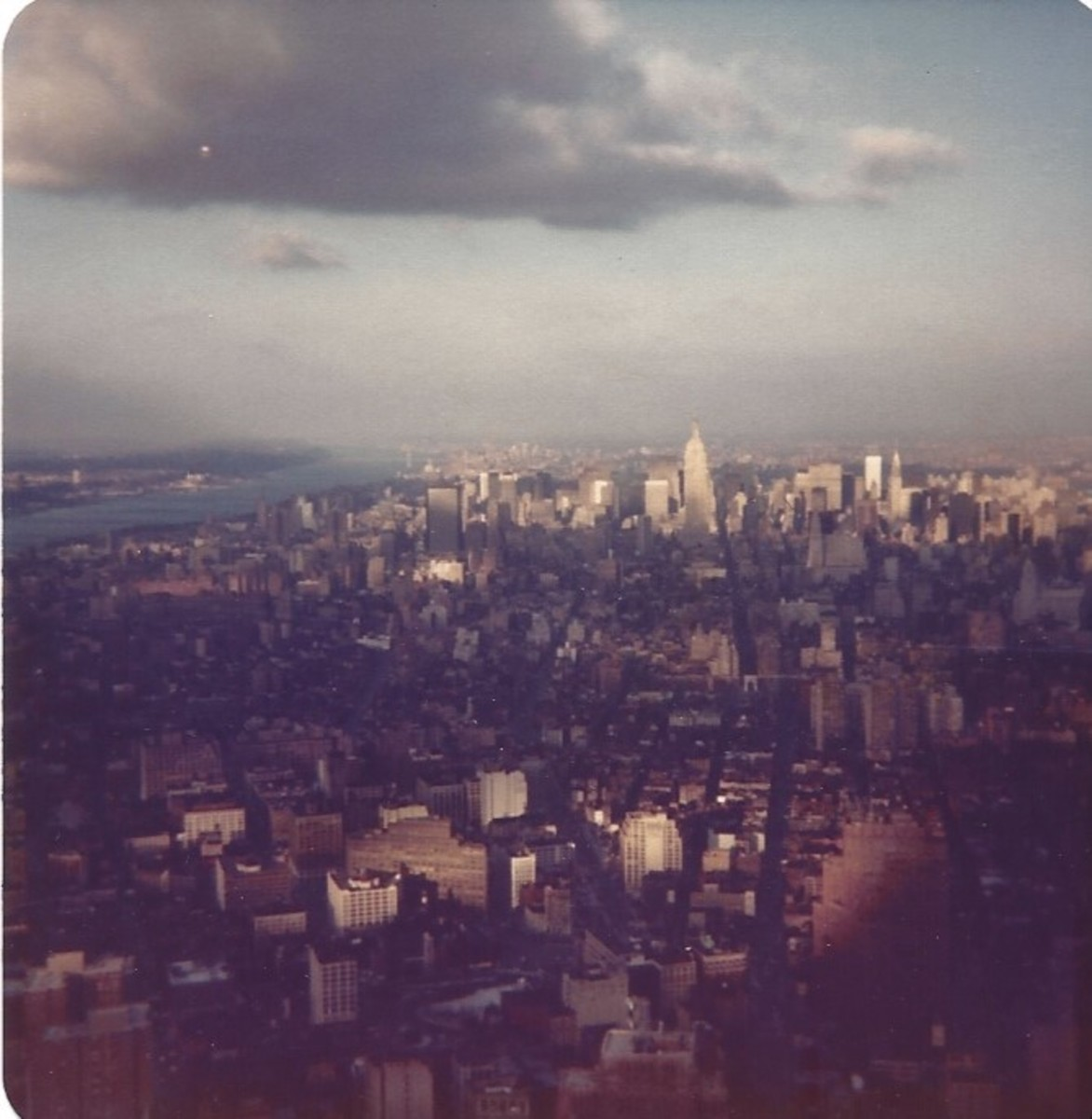 View of Manhattan from the observation deck of the World Trade Center, December 1979,