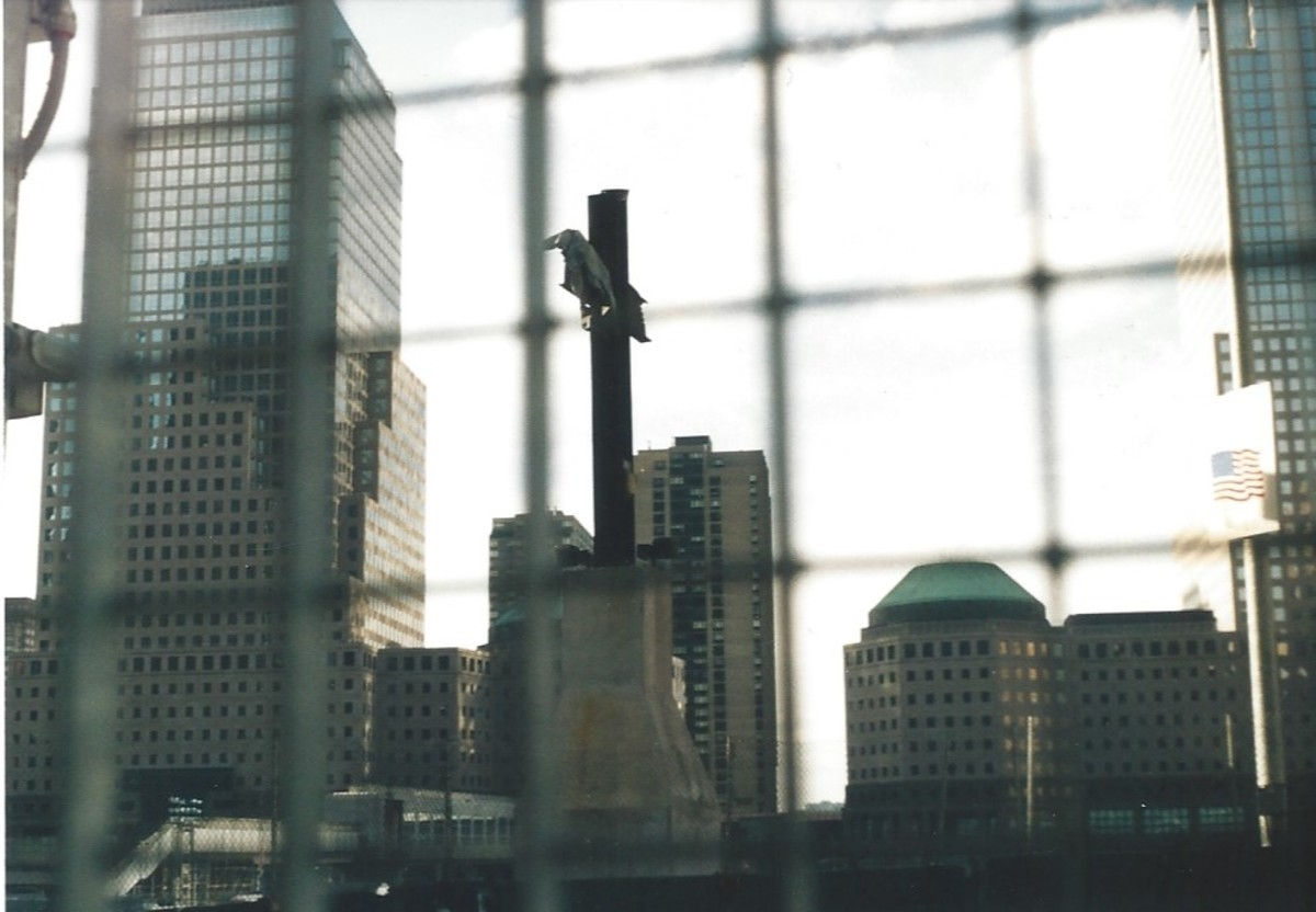 The World Trade Center Cross, December 2004.  This intersecting steel beam stands where World Trade Center 6 stood.  It was a symbol of hope in the aftermath of the September 11, 2001 attacks.
