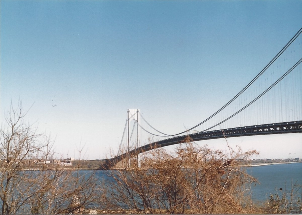 The Verrazano-Narrows Bridge from Fort Wadsworth, Staten Island.  The bridge featured prominently in the movie Saturday Night Fever.