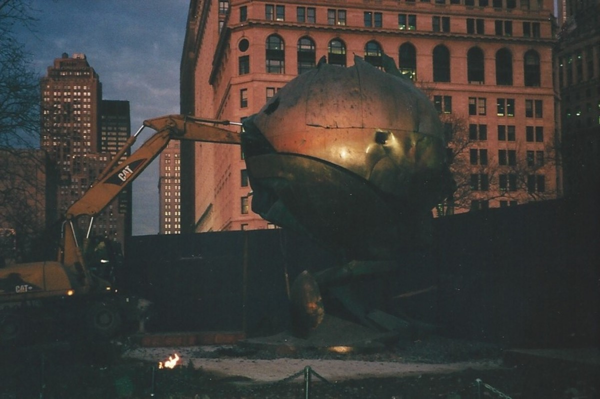 The damaged globe that stood at the World Trade Center.