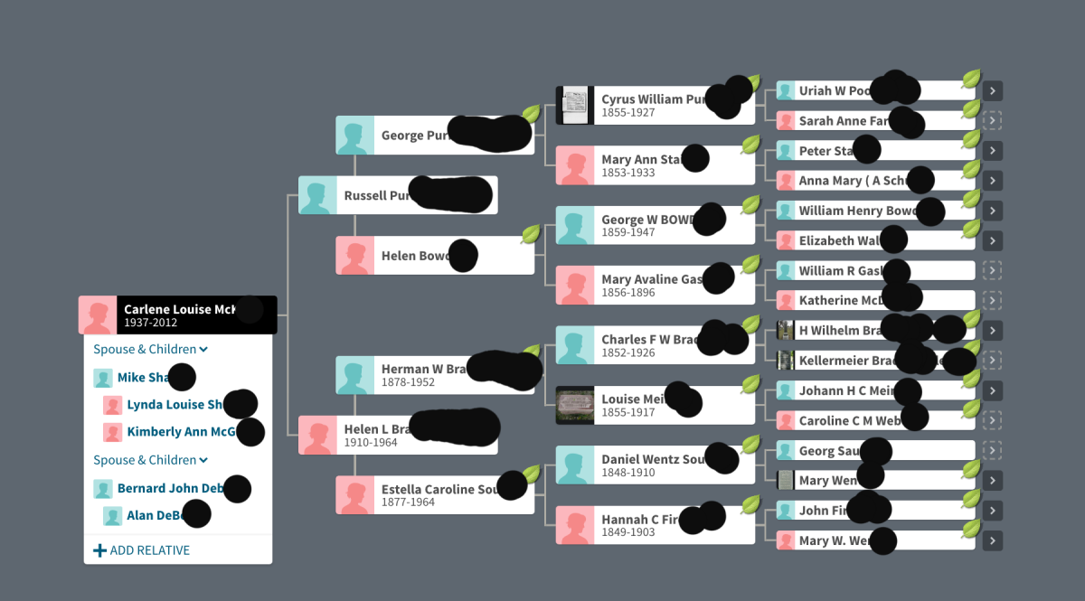 It has not been determined if all of these ancestors are 100% accurate but many Shared Ancestor Hints came from these names.  The tree does go back further generations but it was not possible to show that view on one screen.