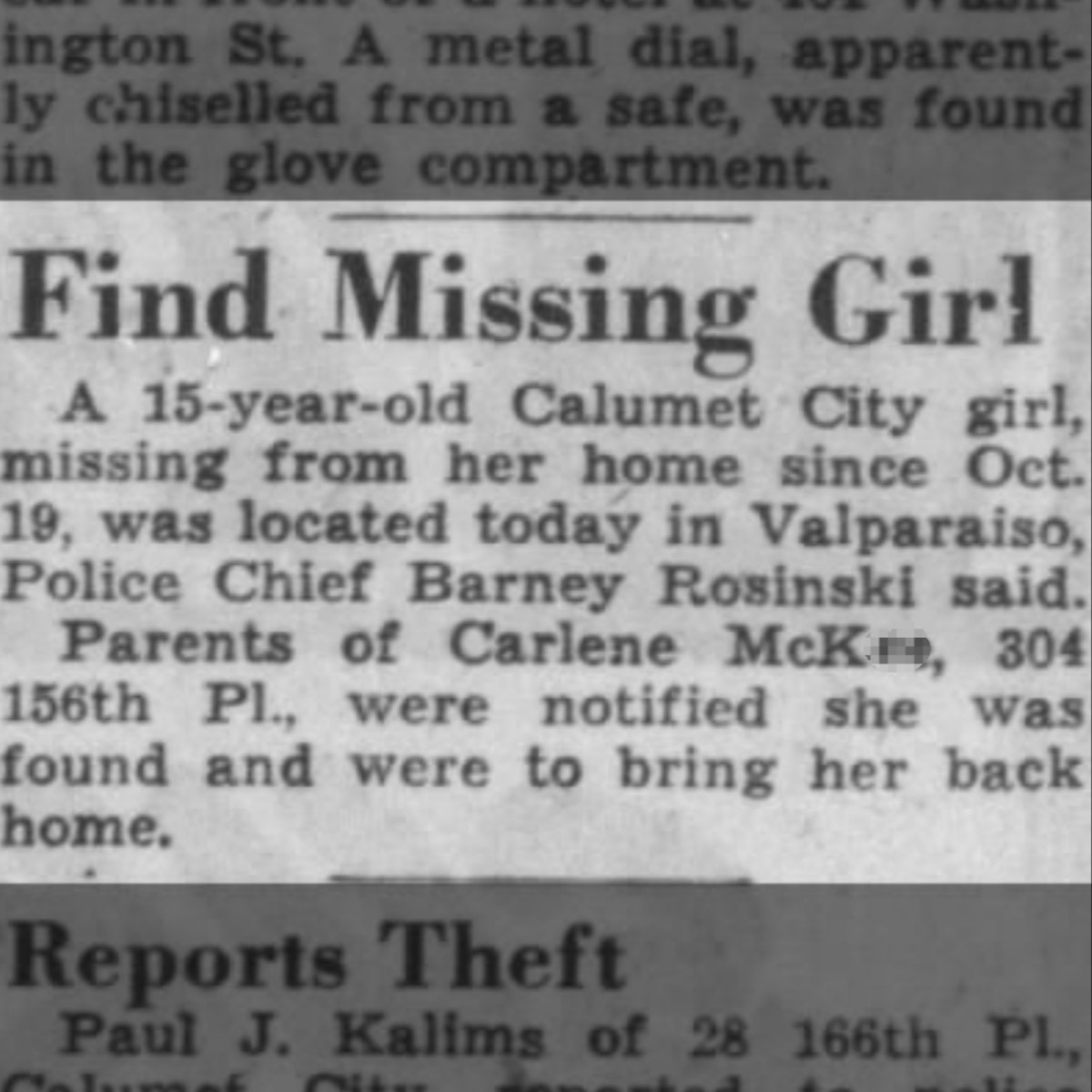 Missing Girl Announcement