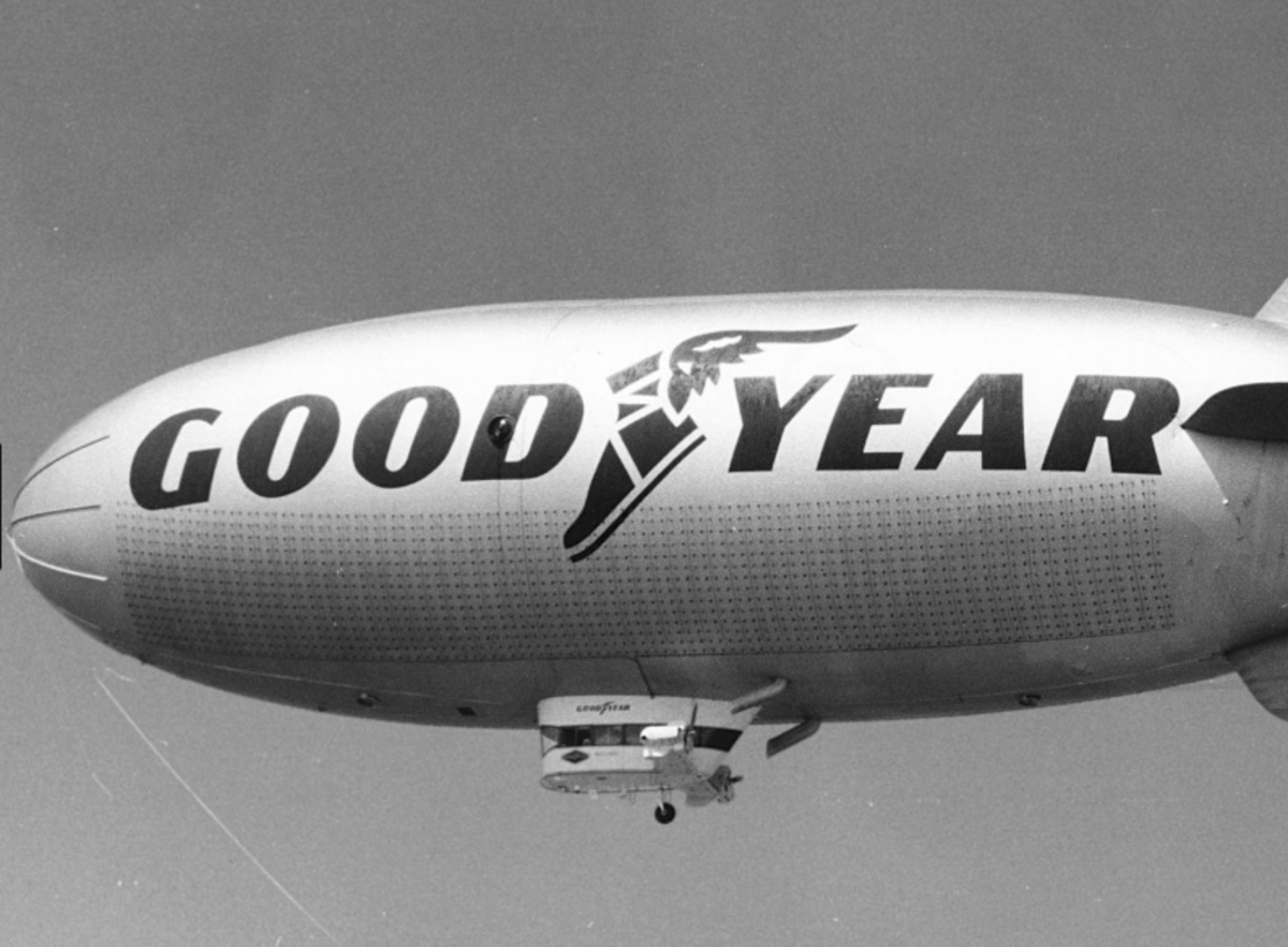 "While living in Goodyear, Arizona we would often see the ""Goodyear Blimp"" hovering low in the sky above our home."