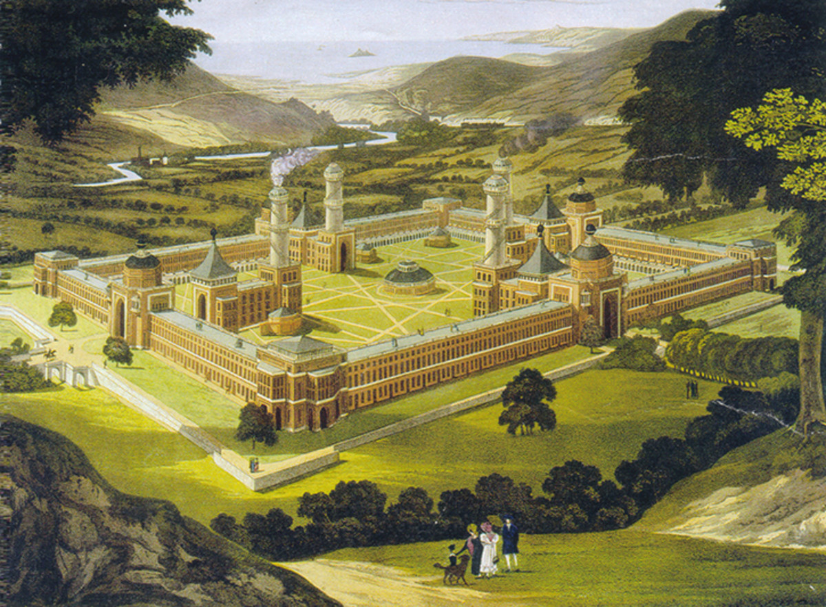 New Harmony by F. Bate (View of a Community, as proposed by Robert Owen) printed 1838.