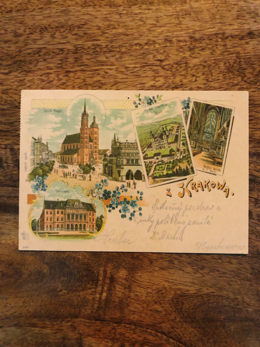 2. Krakow, Poland. I received this postcard from a friend while he was on a vacation in Europe. One of the first cities he visited was Krakow. I love this postcard so much! The front image is showing main landmark and building architecture in Krakow.