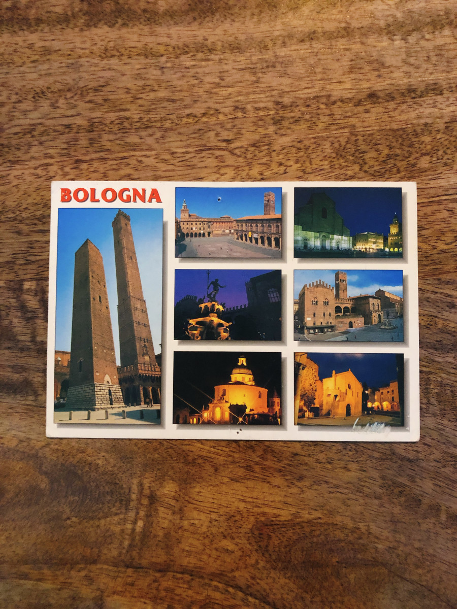 3. Bologna, Italy. I went to Bologna in 2004 during my language course. I received this postcard from a friend who lives there. It's featured some iconic and historical buildings in Bologna.