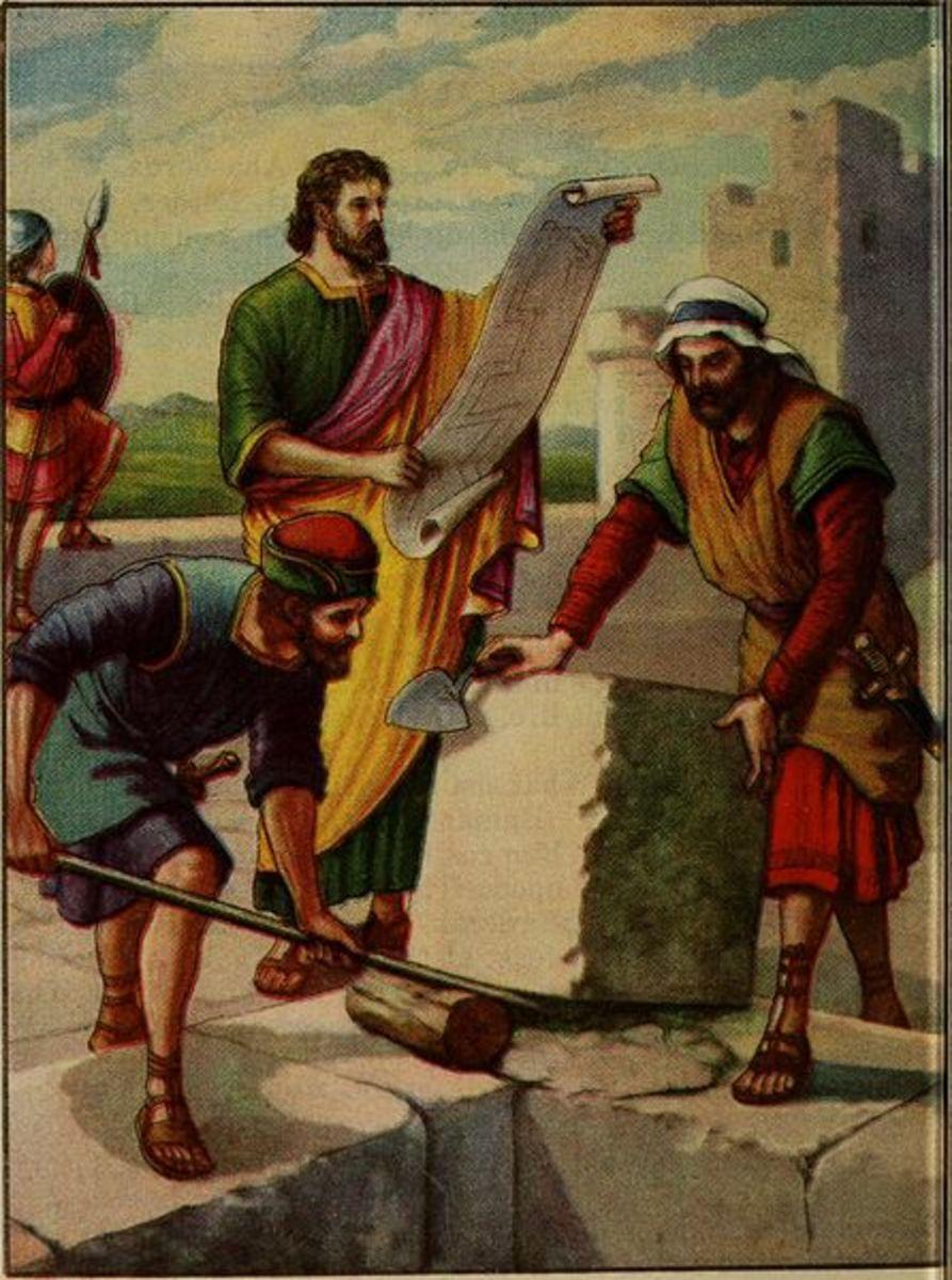 Nehemiah rebuilding the wall of Jerusalem