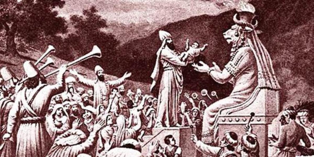 Child sacrifice before the pagan god Molech.