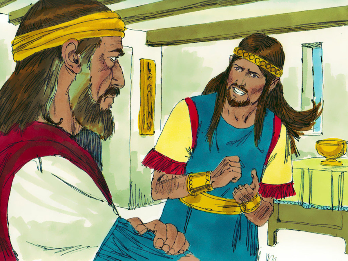 King David and his son Absalom, who later tried to usurp his father's throne.