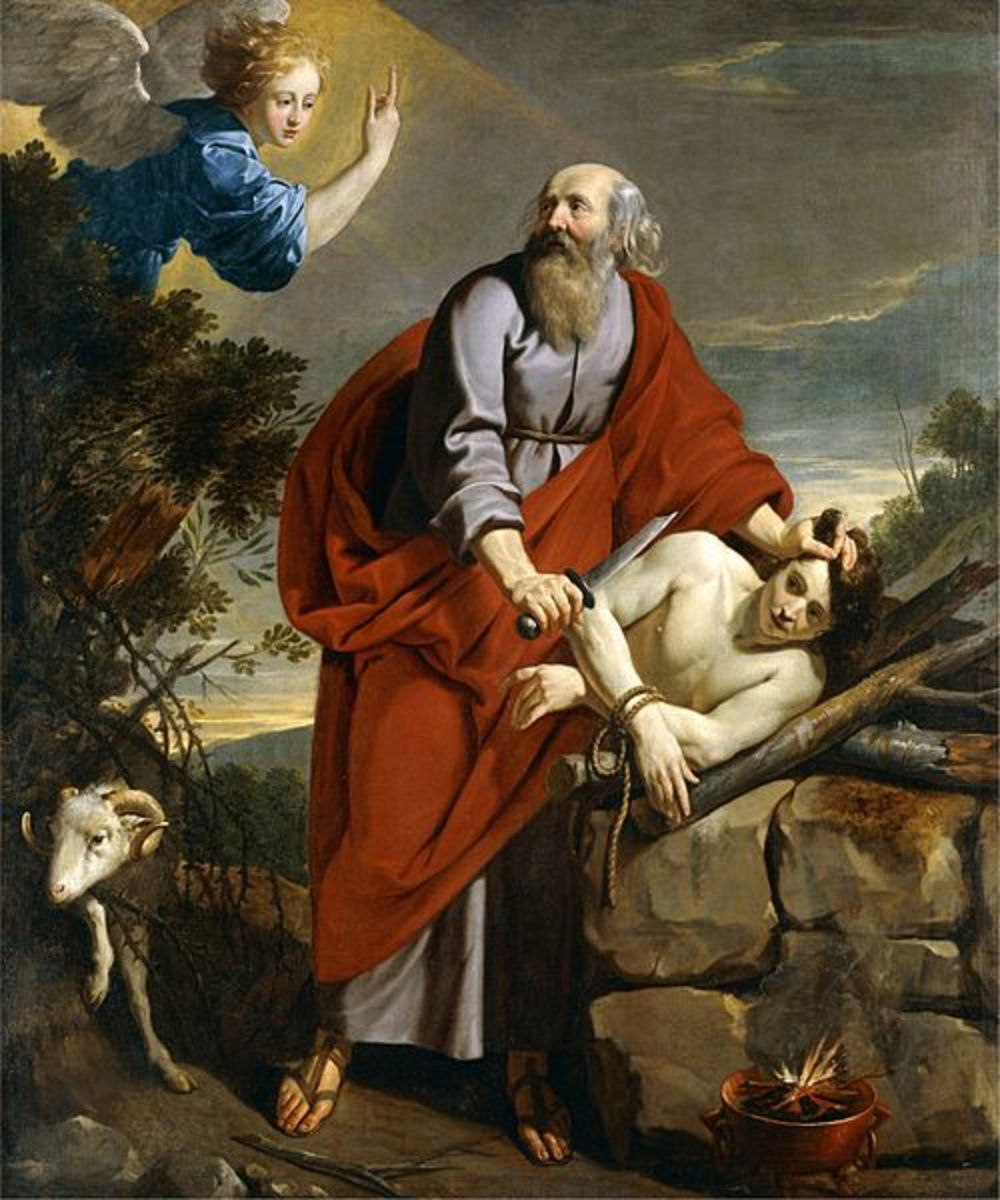 Near sacrifice of Isaac on Mt. Moriah
