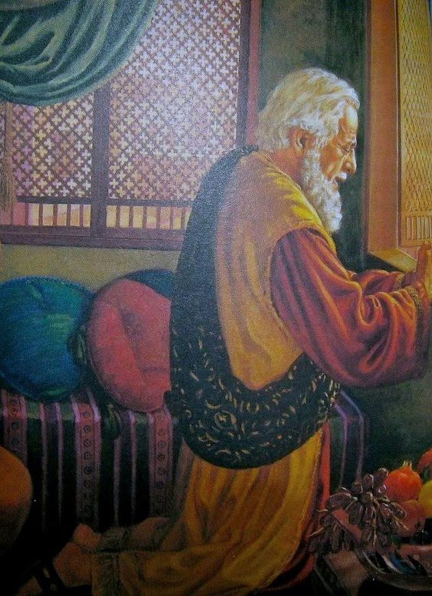 Daniel petitions God regarding the kings edict