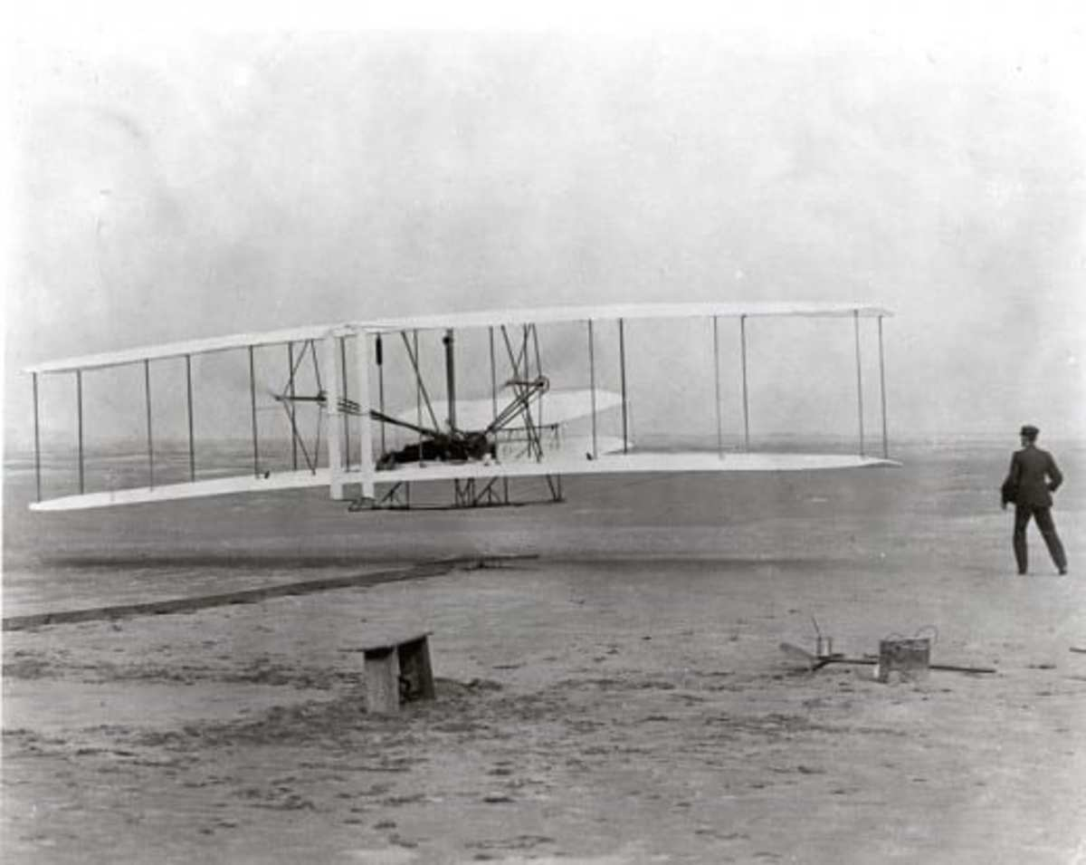 Wright Brothers and early airplane Source: By Attributed to Wilbur Wright (1867–1912) and/or Orville Wright (1871–1948). Orville Wright preset the camera and had John T. Daniels squeeze the rub