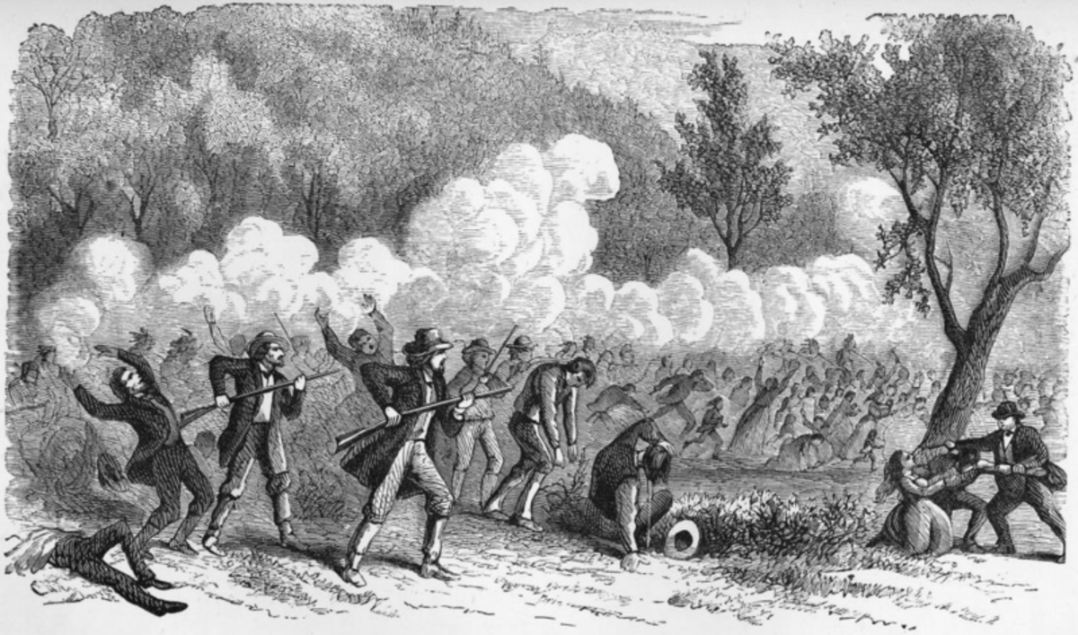 Mormon Militia and Paiute Indians Attacking Baker-Fancher Party
