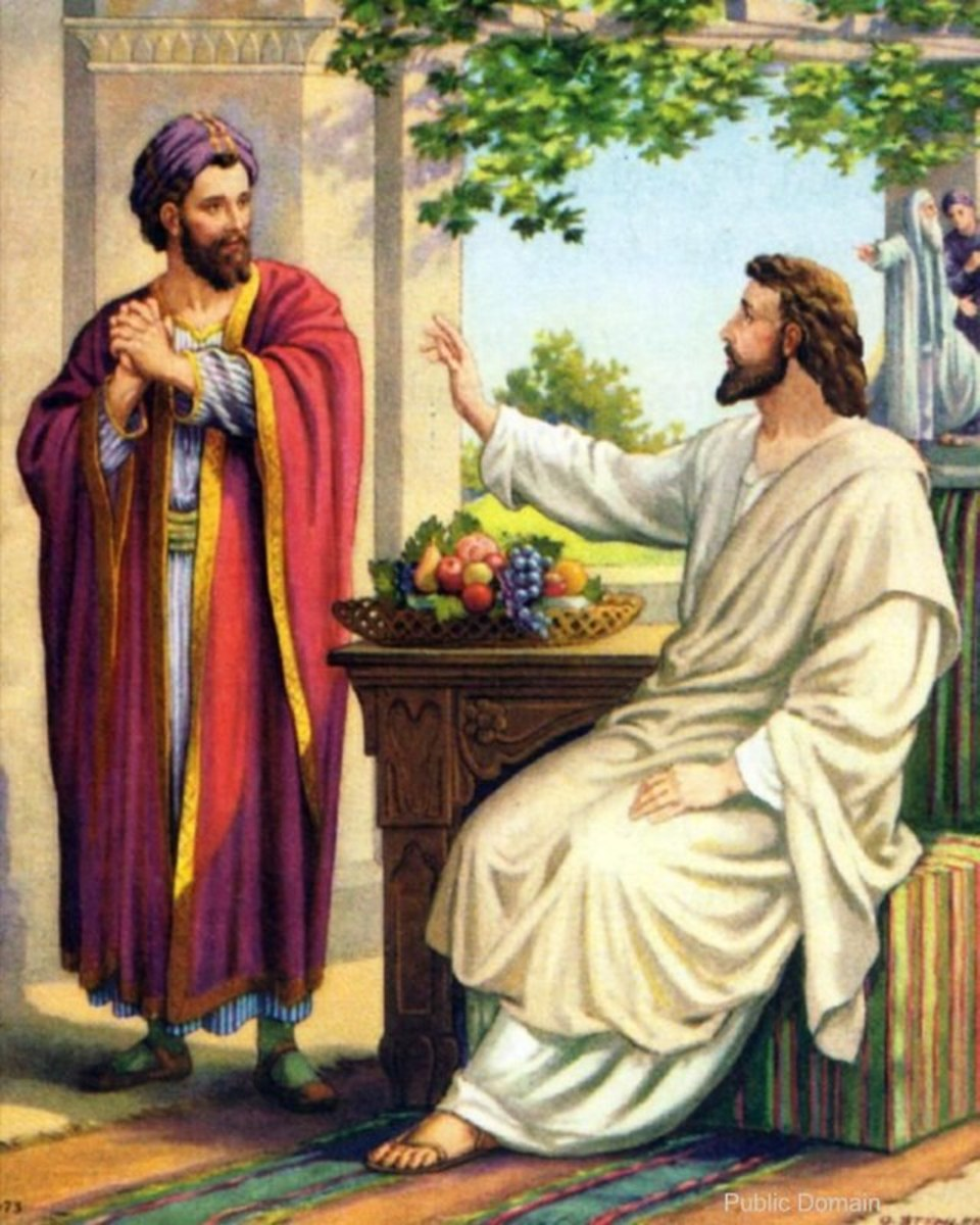 "Jesus spent the day with Zacchaeus and friends teaching them.  Zacchaeus then said,""I give half my possessions to the poor.  If I have cheated anybody, I will pay back 4 times the amount.""  Luke 19:8"