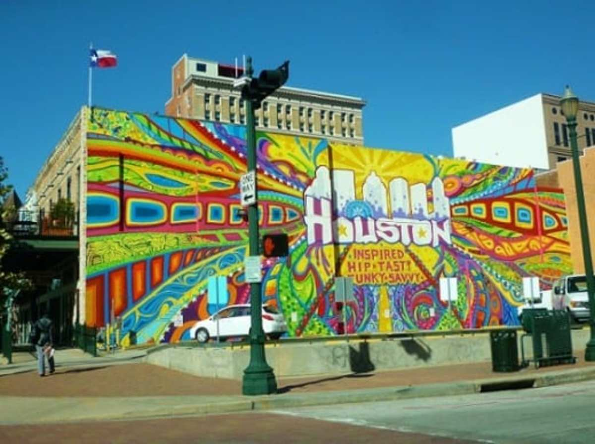 Photo of mural taken in downtown Houston on a weekend when there was not much traffic.