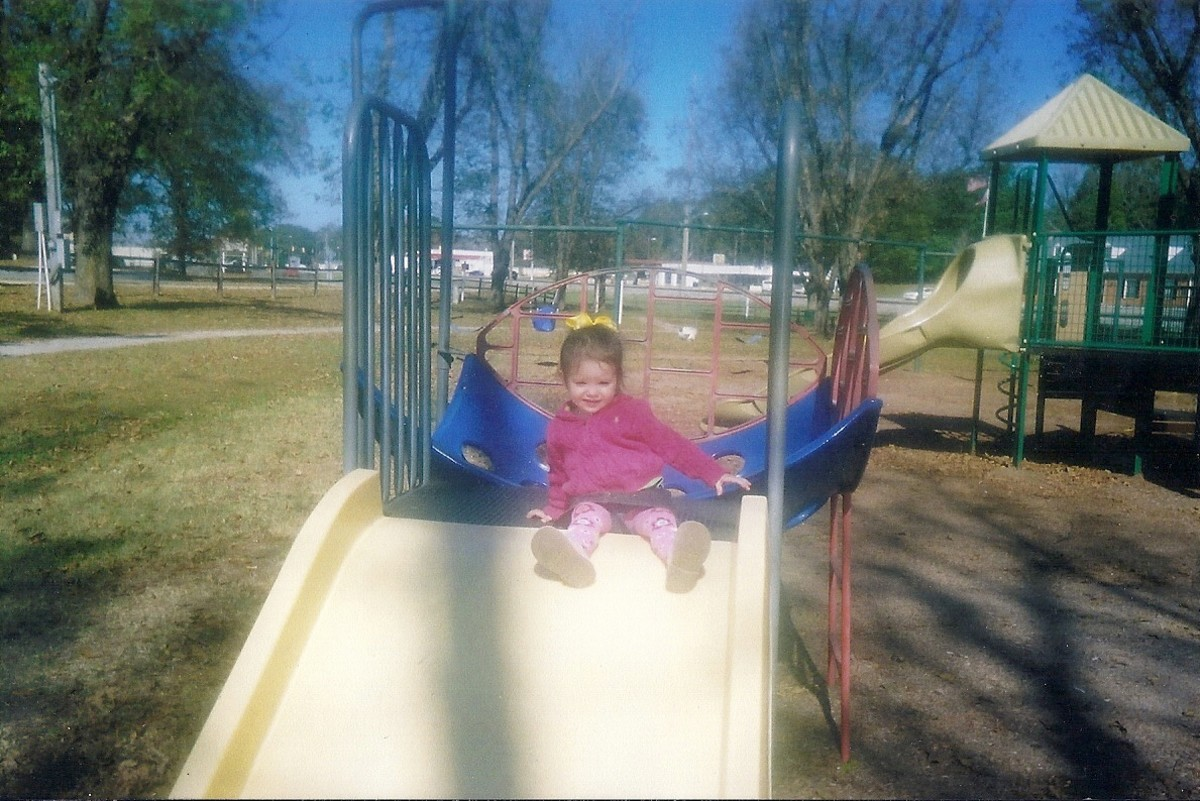 Other granddaughter at the park long ago...