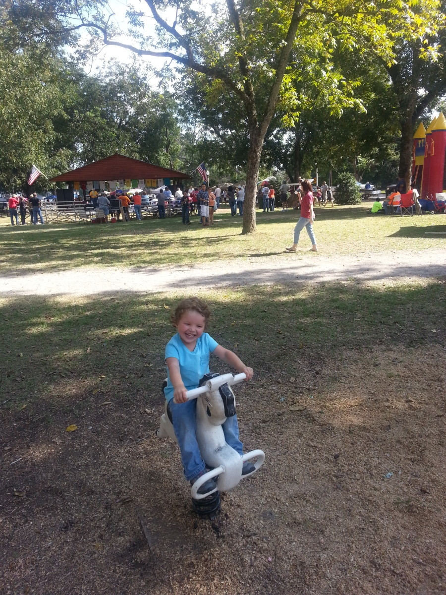 Granddaughter riding pony at Town Park.  Swedish Fest was going on at the time.