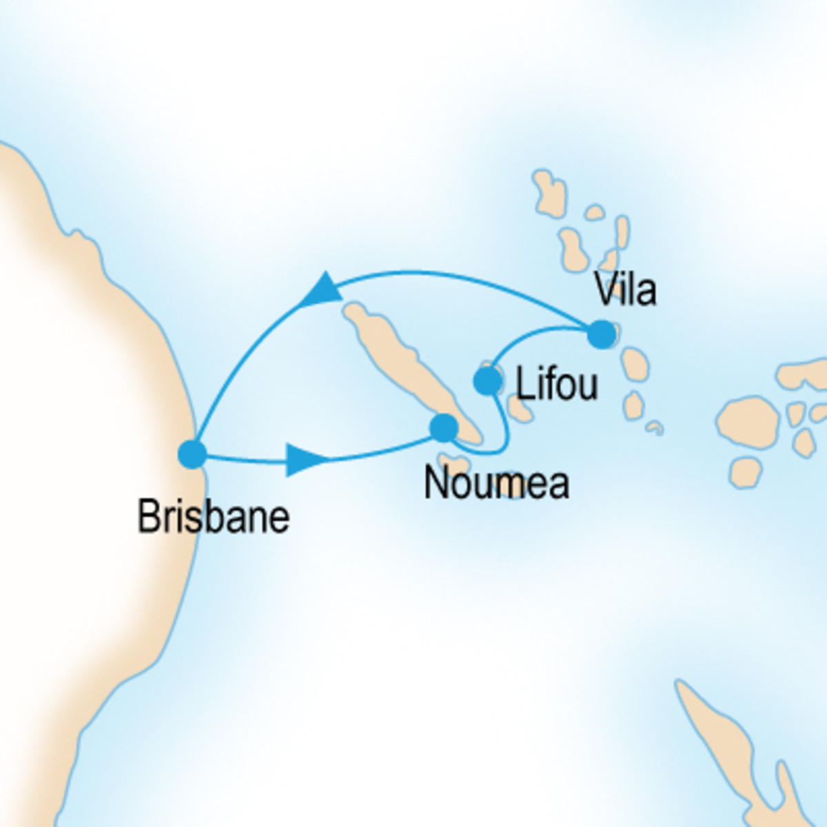 Pacific Island Hopper route