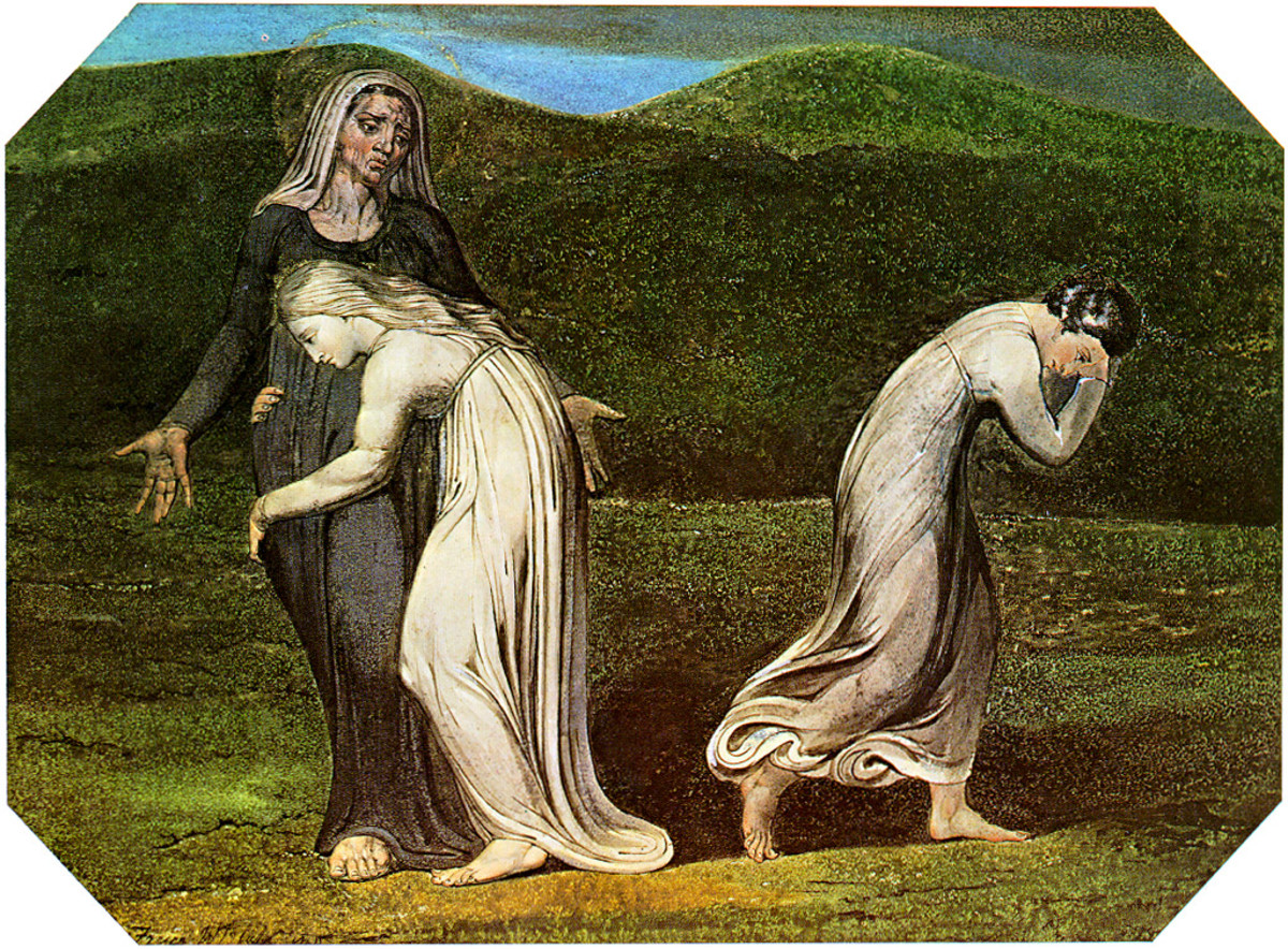 William Blake's painting of  Ruth clinging to Naomi and Orpah leaving