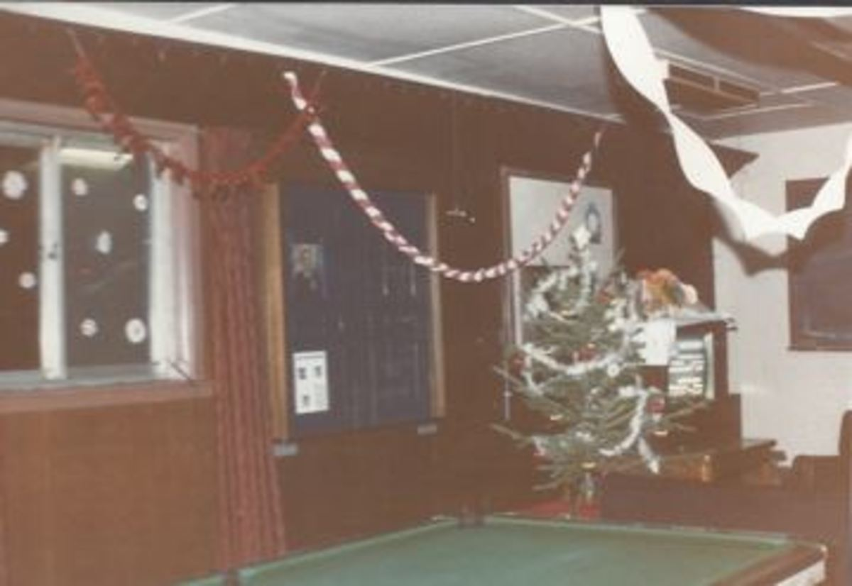 A barracks dayroom at Christmas Time.. 1985.