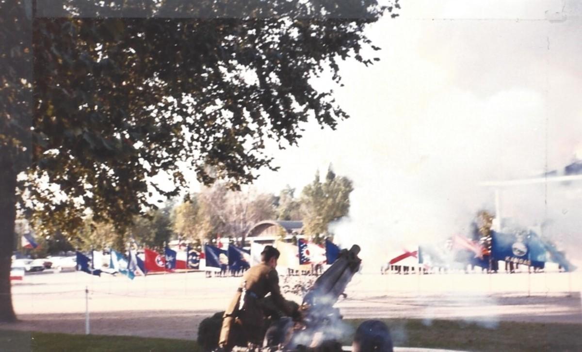 Yongsan, A Gurkha firing a cannon during a ceremony.