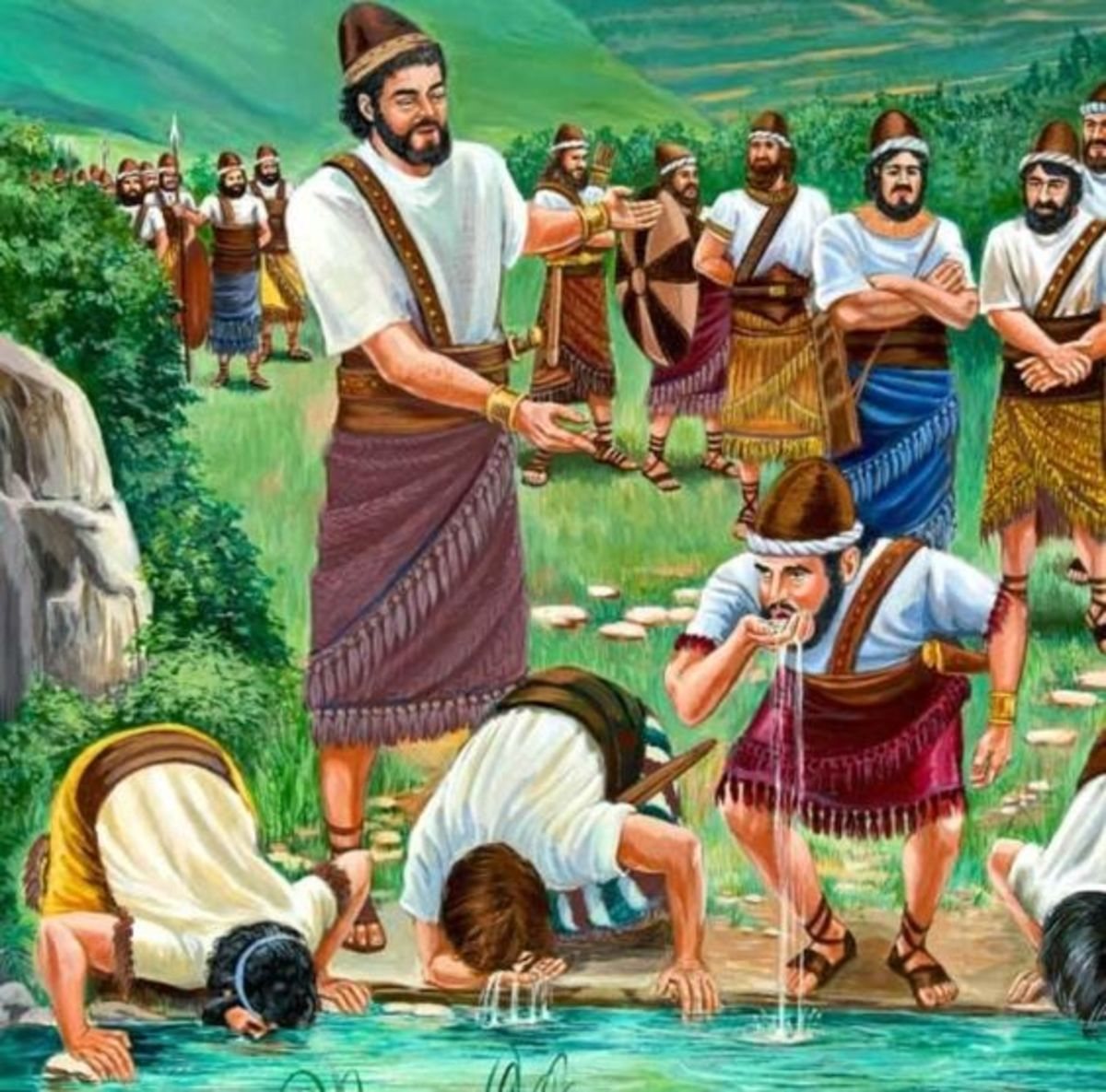 Gideon's army drinking water from a stream