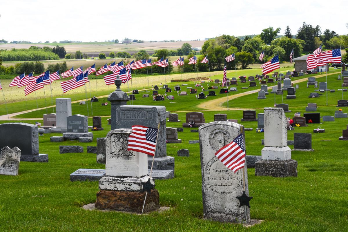 American flags honoring fallen veterans on Memorial Day.
