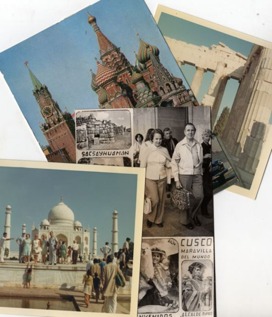 Post cards from around the world--  Moscow, Athens, Agra, and Cusco.