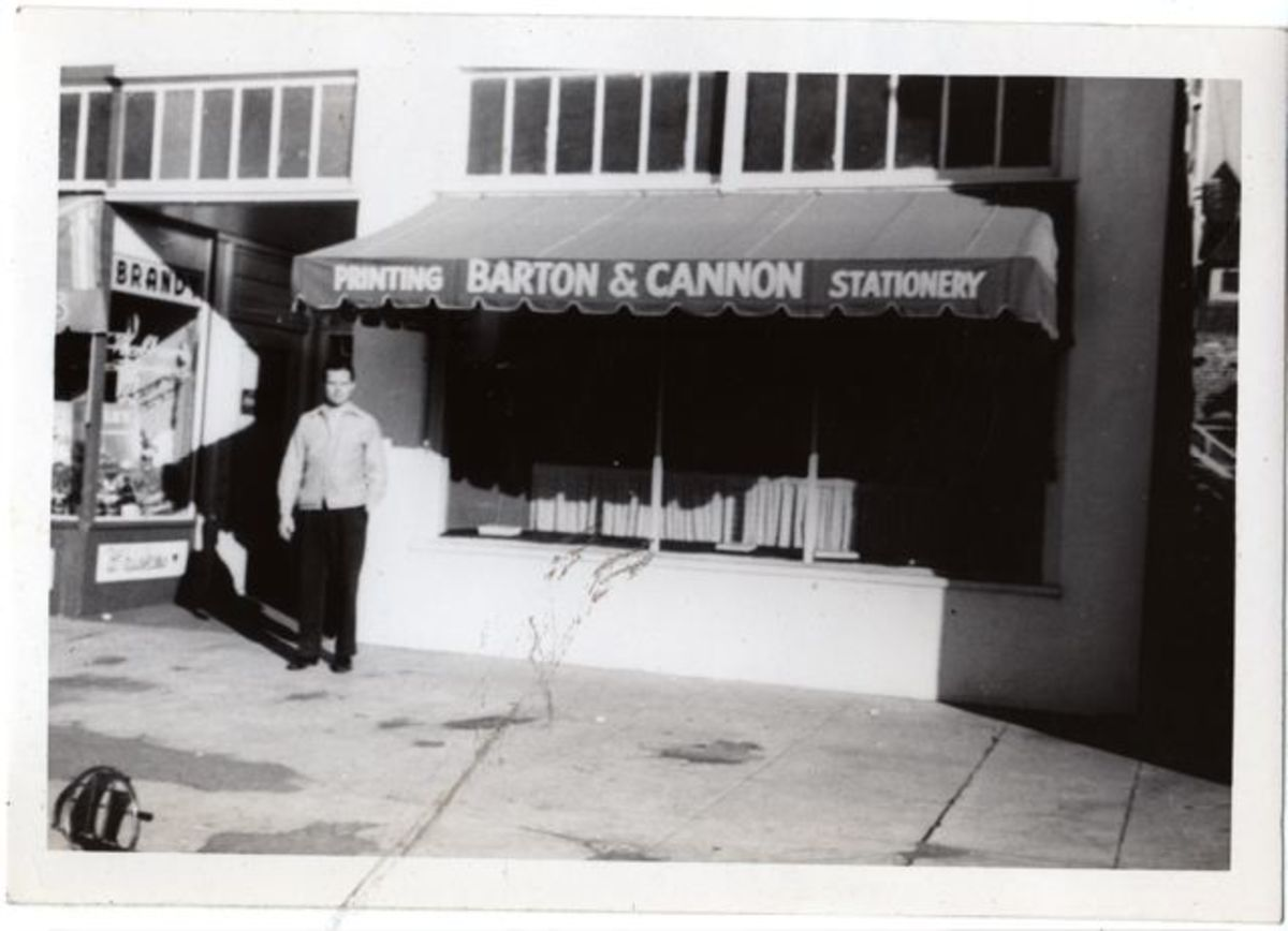 "Dad's first print shop-  ""Barton and Cannon Printing""Long Beach -1947"