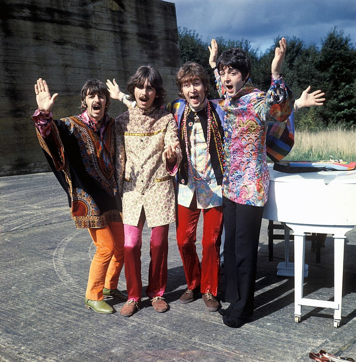 Press photo of The Beatles during Magical Mystery Tour.