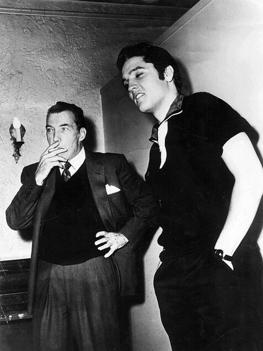 Elvis Presley and Ed Sullivan in New York City, October 26, 1956