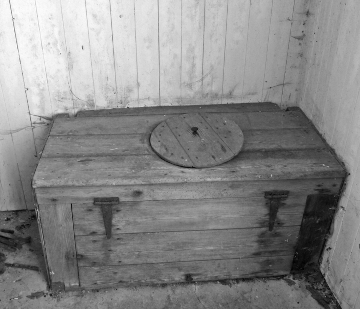 The outside toilet this looks very similar to the one at my nana's house when not in use it normally had a lid that went over the hole though not on the night of the rat encounter..