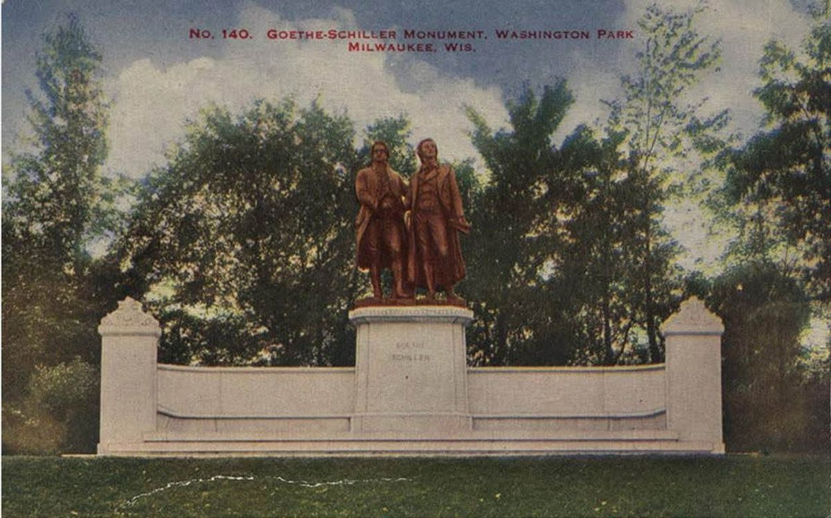 "Copy of a color lithograph titled ""No. 140 Goethe-Schiller Monument, Washington Park, Milwaukee, Wis."". 1914 postcard (M. L. Annenberg)"