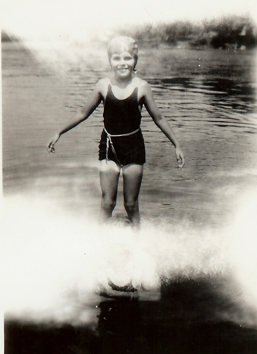 My mother water skiing