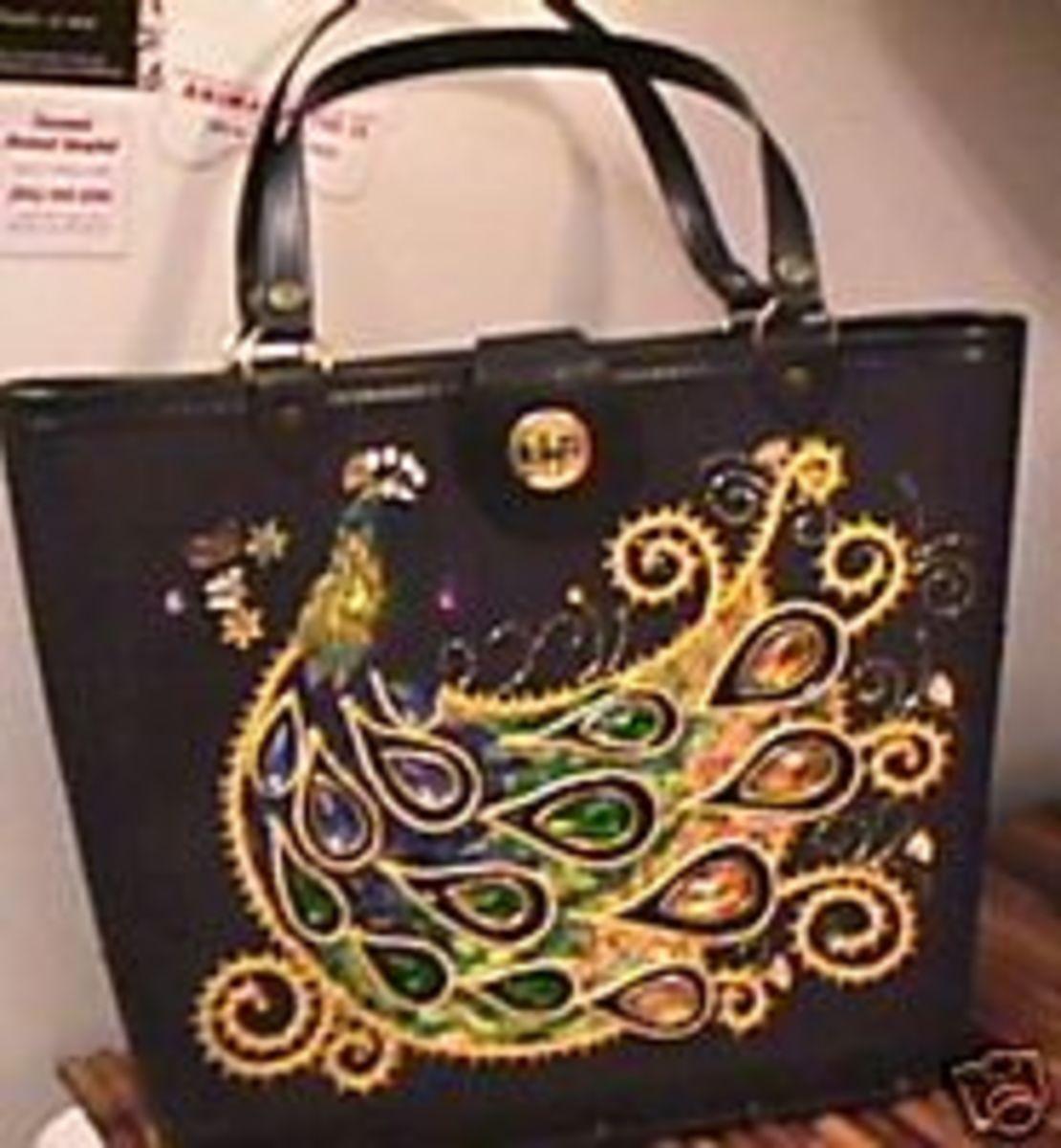 Vintage peacock jewelled purse