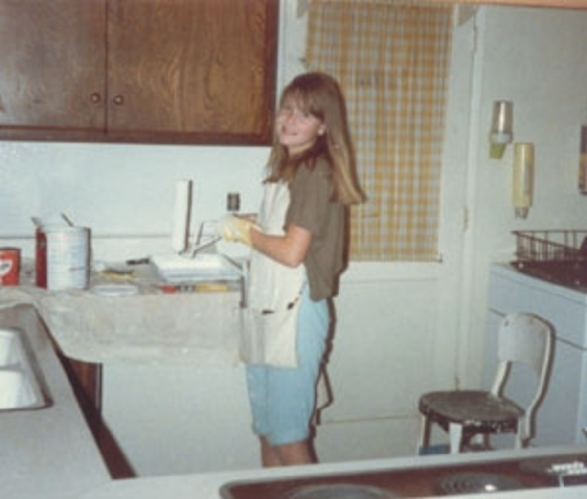 After we returned home in July, Sarah painted the kitchen. She was a very skilled painter and enjoyed the work.