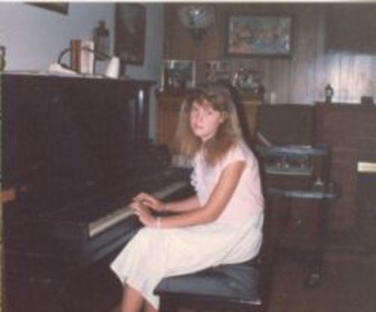 Sarah playing the piano.