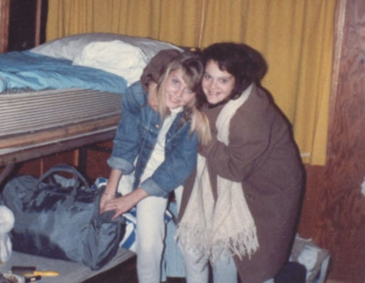 Sarah is shown with one of her friends at a Forest Home winter camp.
