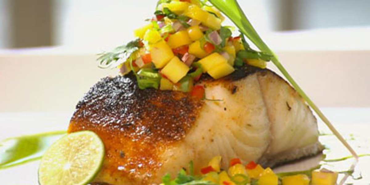 Blackened Halibut with Mango Salsa