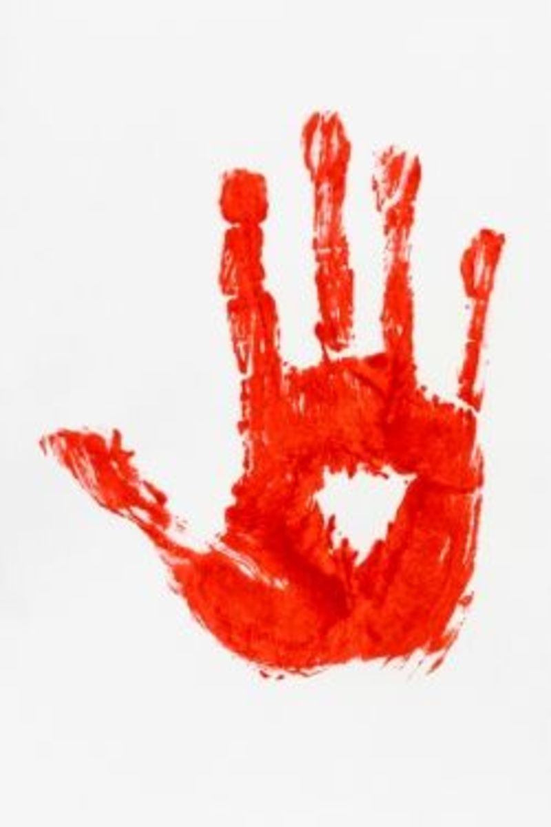 A hand print in red paint