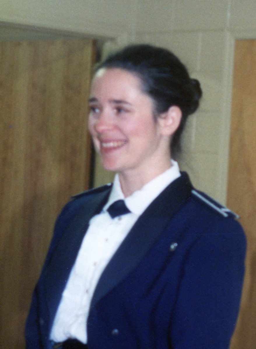 My Air Force regulation granny bun. Mess dress uniform.
