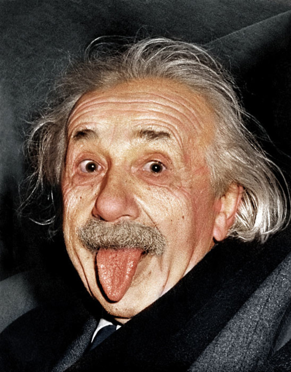 Albert Einstein Sticking Tongue - Recoloring