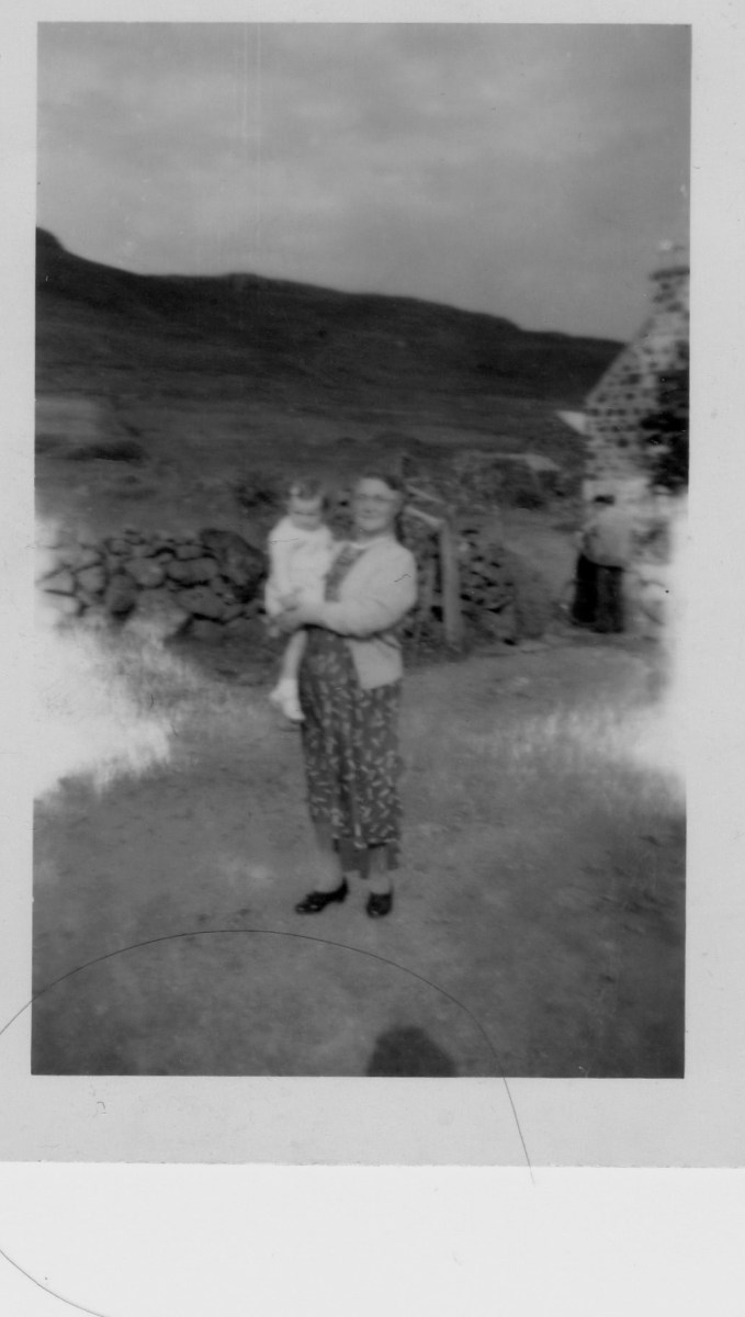 My mum and her Granny, at Granny's croft, Scotland, 1956