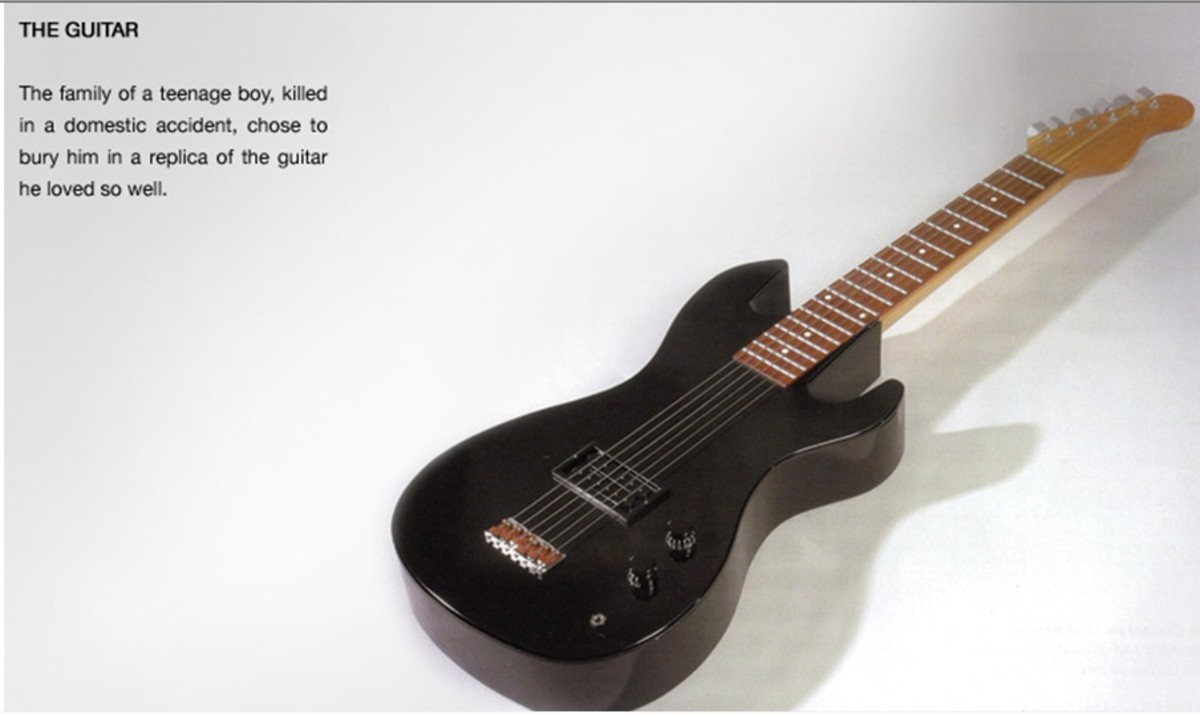 This British casket was made for a teenage boy who died in an accident. It's in the form of his favorite guitar.