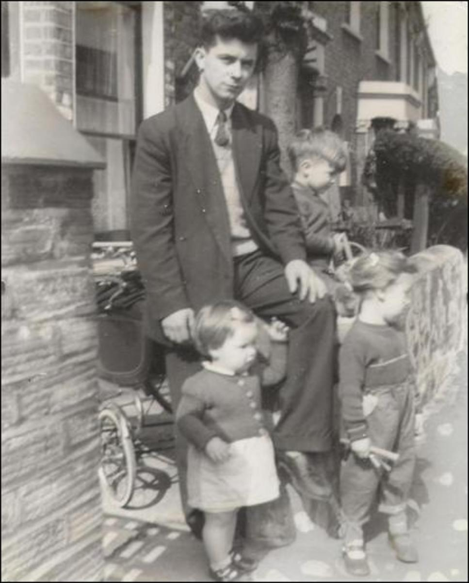 Peter Reid in London with three of his children in 1958