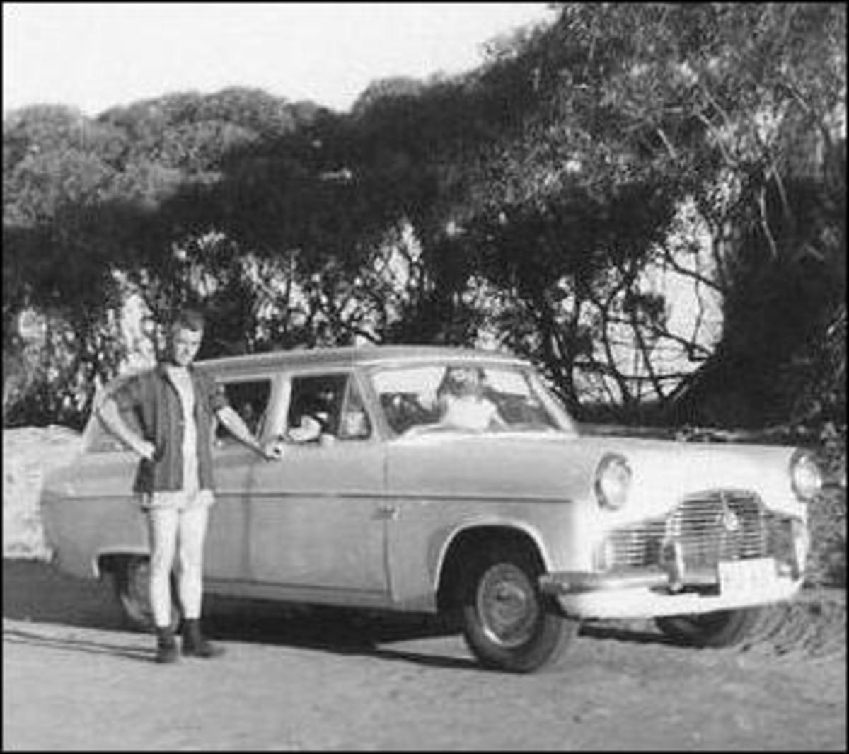 Peter driving in the outback in Australia. 1967