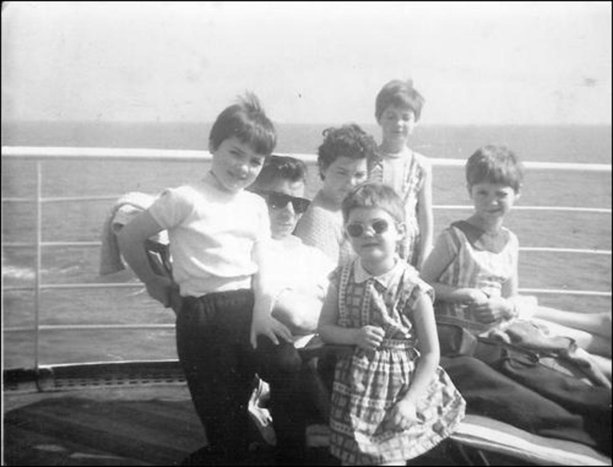 My Irish family on Board Castel Felice on the way to Australia